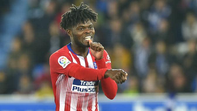 4. Thomas Partey (Atletico Madrid) - Pemain asal Ghana ini tampil menonjol bersama Atletico Madrid di kompetis Liga Champions musim ini. Berdasarkan statistik penampilannya, Thomas Partey mendapatkan nilai 7.55 di Liga Champions 2019/2020. (AFP/Ander Gillenea)