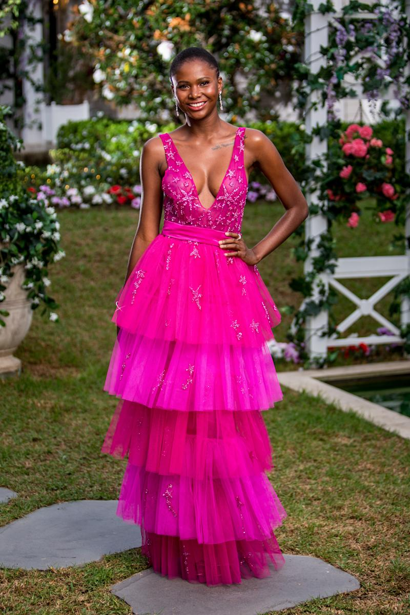 Vakddoo's dress' trendy, tier style and burst of hot pink makes it a winner. Photo: Network 10