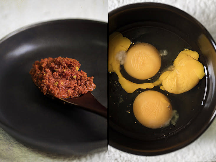 'Sambal' for heat (left). Crack the eggs into a small bowl first (right).