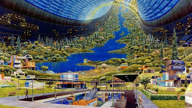 Ilustrasi kota masa depan yang dirancang NASA pada era 1970-an. (Foto: NASA)