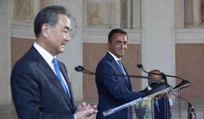 Wang and Di Maio during the joint news conference following their meeting on Tuesday. Photo: EPA-EFE