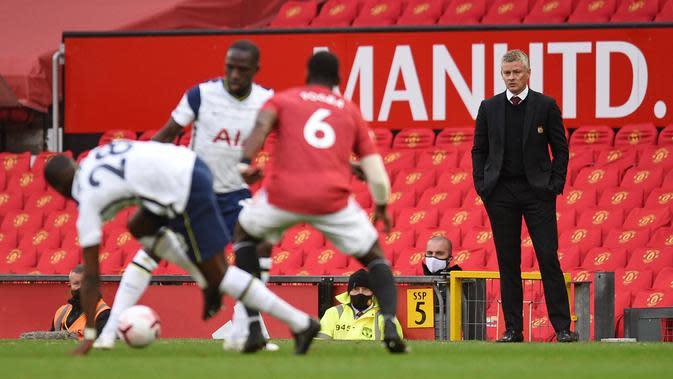 Manchester United Vs Tottenham Hotspur di Old Trafford, Minggu (4/10/2020). (AFP/Oli Scraff)