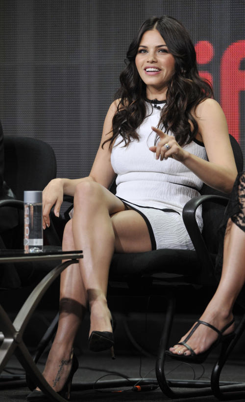 "Jenna Dewan-Tatum, a cast member in the Lifetime series ""Witches of East End,"" answers a question onstage during the Lifetime 2013 Summer TCA press tour on Friday, July 26, 2013 in Beverly Hills, Calif. (Photo by Chris Pizzello/Invision/AP)"