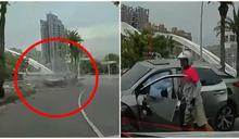 影/高雄休旅車自撞「無敵風火輪」翻車 外送員一舉動被讚翻!網:暖爆了