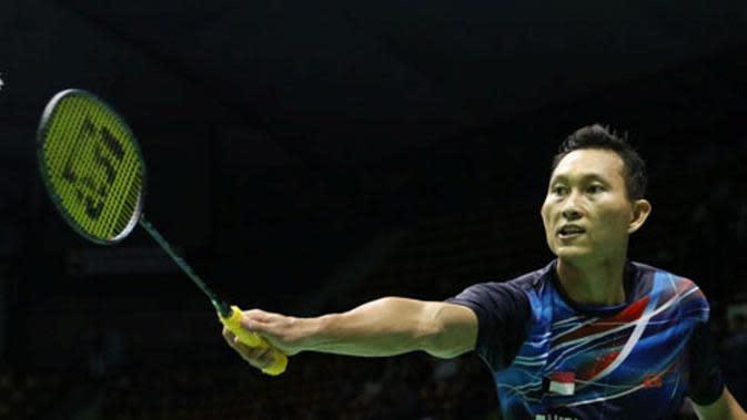 Tunggal putra Indonesia, Sony Dwi Kuncoro, menyabet tiket ke final Thailand Terbuka 2016 seusai mengalahkan pemain Hong Kong, Lee Cheuk Yiu, Sabtu (8/10/2016). (PBSI)