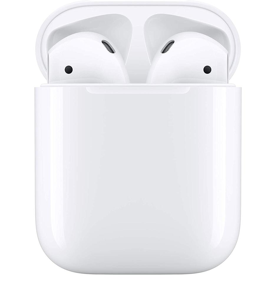 """<p><strong>Apple</strong></p><p>amazon.com</p><p><strong>$114.99</strong></p><p><a href=""""https://www.amazon.com/Apple-AirPods-Charging-Latest-Model/dp/B07PXGQC1Q?tag=syn-yahoo-20&ascsubtag=%5Bartid%7C10054.g.34313481%5Bsrc%7Cyahoo-us"""" target=""""_blank"""">Buy</a></p><p><strong><del>$159.00</del> (28% off)</strong></p><p>This is the cheapest you'll ever find AirPods. The case on this model doesn't support wireless charging, but that's an easy compromise to make.</p>"""