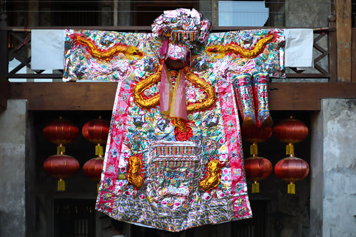 A traditional Cantonese opera robe with eye-catching sequins