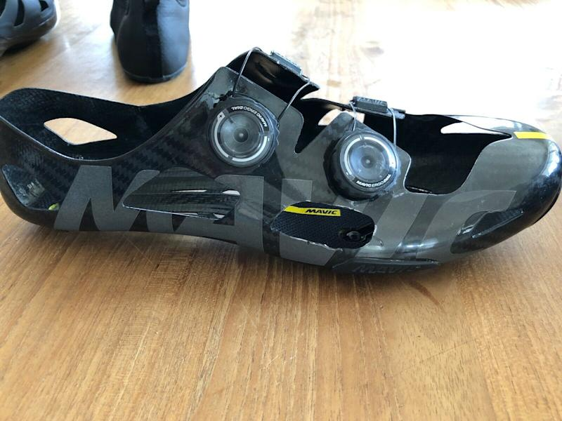 The full carbon outer shell, with Mavic's own retention dials – make for a technical shoe. The seller has had to modify theirs, however, to relieve some pressure