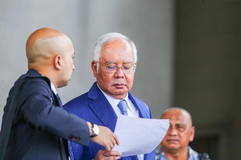 Datuk Seri Najib Razak leaves the Kuala Lumpur Court Complex August 13, 2019. — Picture by Hari Anggara
