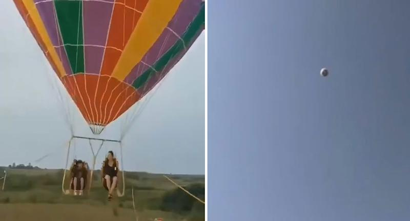Mother and child on hot air balloon in China before drifting into the sky and falling to their death.