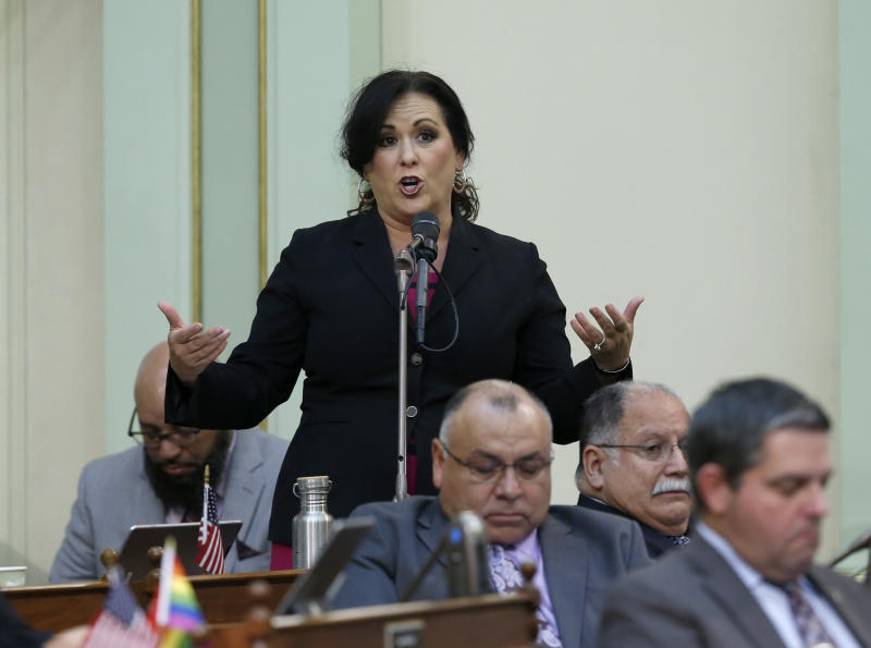 Assemblywoman Lorena Gonzalez, D-San Diego, urges lawmakers to approve her measure to give new wage and benefit protections at the so-called gig economy companies like Uber and Lyft, during the Assembly session in Sacramento, Calif., Wednesday, Sept. 11, 2019. Gonzalez' bill AB5, was approved and now goes to the governor, who has said he supports it. (AP Photo/Rich Pedroncelli)