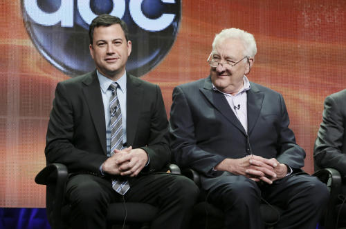 "Jimmy Kimmel, left, and Executive Producer Don Mischer attend the ""64th Primetime Emmy Awards"" panel at the Disney ABC TCA Day 2 at the Beverly Hilton Hotel on Friday, July 27, 2012, in Beverly Hills, Calif. Kimmel, host of the Emmy Awards in September, and Mischer discussed the ceremony at the Television Critics Association meeting. (Photo by Todd Williamson/Invision/AP)"