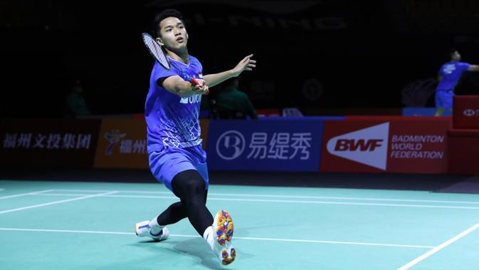 Jonatan Christie tersingkir pada babak perempat final Fuzhou China Terbuka 2019. (dok. PBSI)