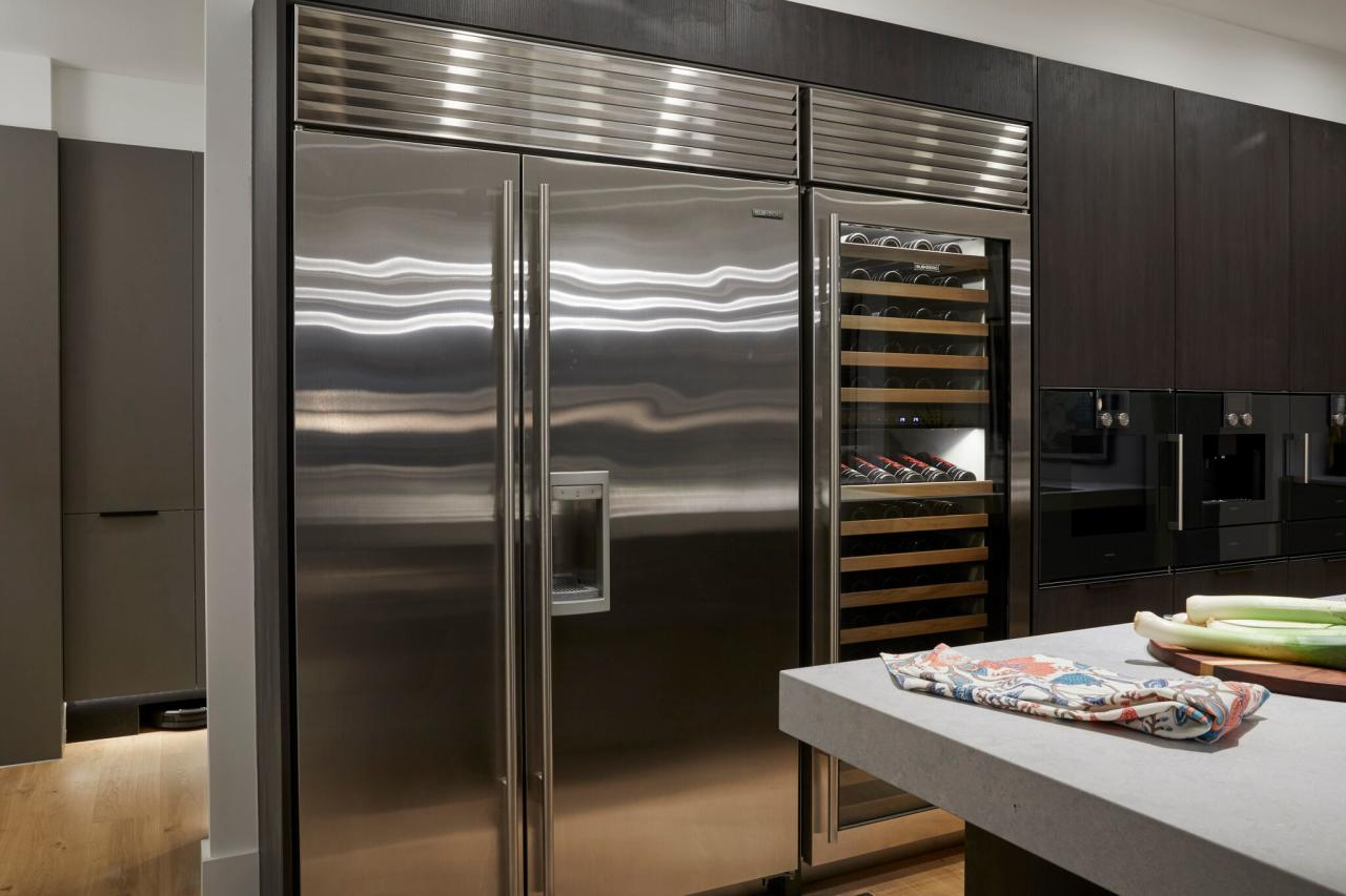 <p>Kerri and Spence received the first perfect score of the season for their Kitchen, which featured a $46,000 fridge and wine rack. Photo: Supplied/Channel Nine </p>