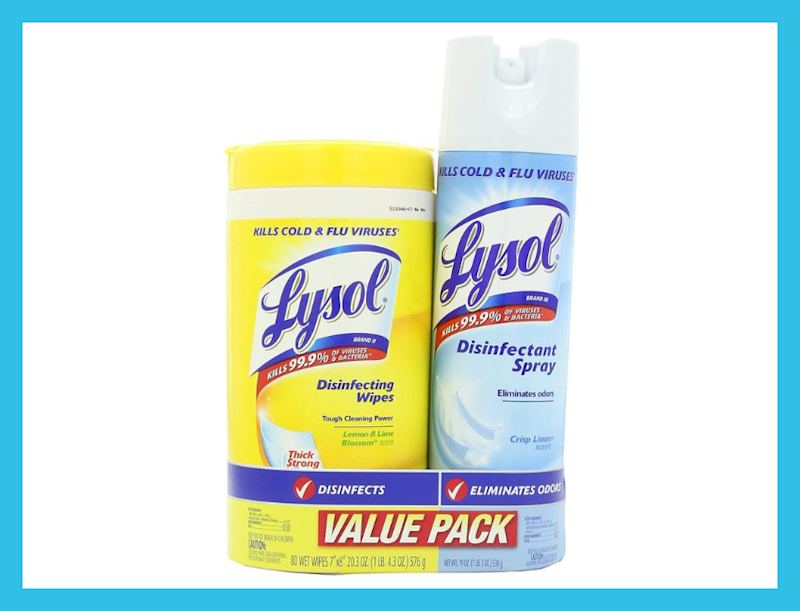 Lysol Base Household Cleaning Wipes and Disinfectant Spray. (Photo: Amazon)