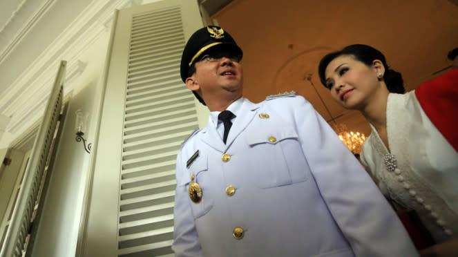 Basuki Tjahaja Purnama Ahok bersama istrinya, Veronica Tan.