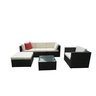 Boyel Living 6 Piece Rattan Sectional, Outdoor Conversation Furniture