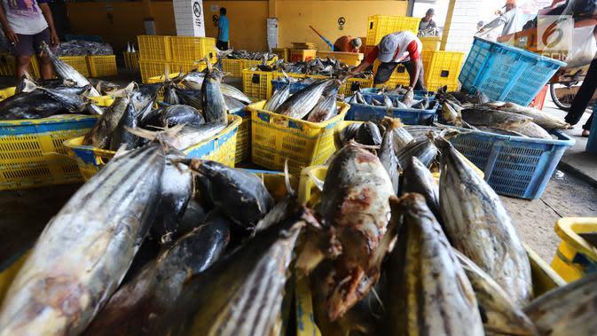Nelayan memindahkan ikan laut hasil tangkapan di Pelabuhan Muara Angke, Jakarta, Kamis (26/10). Menurut Kementerian Kelautan dan Perikanan (KKP), ekspor perikanan naik 7,21 persen dibanding periode yang sama tahun 2017. (Liputan6.com/Angga Yuniar)