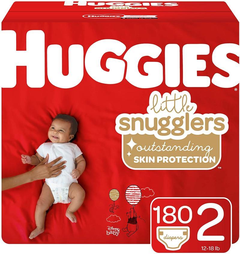 Huggies Little Snugglers Baby Diapers, Size 2, 180 Count. Image via Amazon.