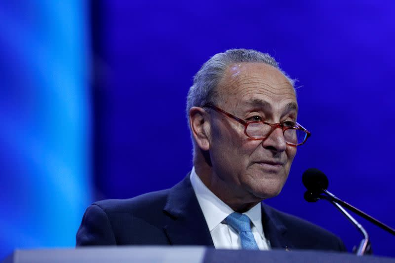 Senate Democratic Leader Schumer delivers remarks during the AIPAC convention at the Washington Convention Center in Washington