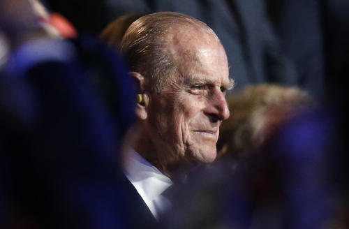 """FILE - In this July 27, 2012 file photo, Britain's Prince Philip, the Duke of Edinburgh attends the Opening Ceremony at the 2012 Summer Olympics. Buckingham Palace said Wednesday, Aug. 15, 2012 that the queen's husband, Prince Philip, has been taken to a Scottish hospital as """"a precautionary measure."""" (AP Photo/Jae C. Hong, File)"""