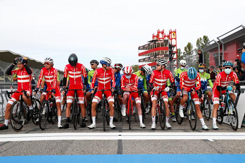 The Danish team line up at the front of the peloton at the start