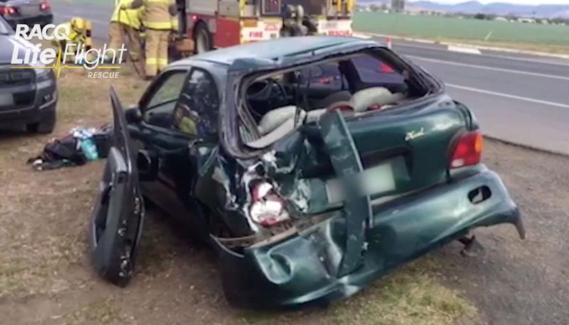A photo of a Hyundai eXcel car at the crash scene east of Toowoomba.
