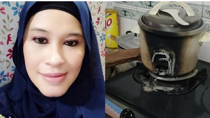Ayahnya Masak Nasi Pakai Rice Cooker di Kompor, Sang Anak Tahan Emosi Bikin Haru (Sumber: Facebook/Nana Emran/mStar)