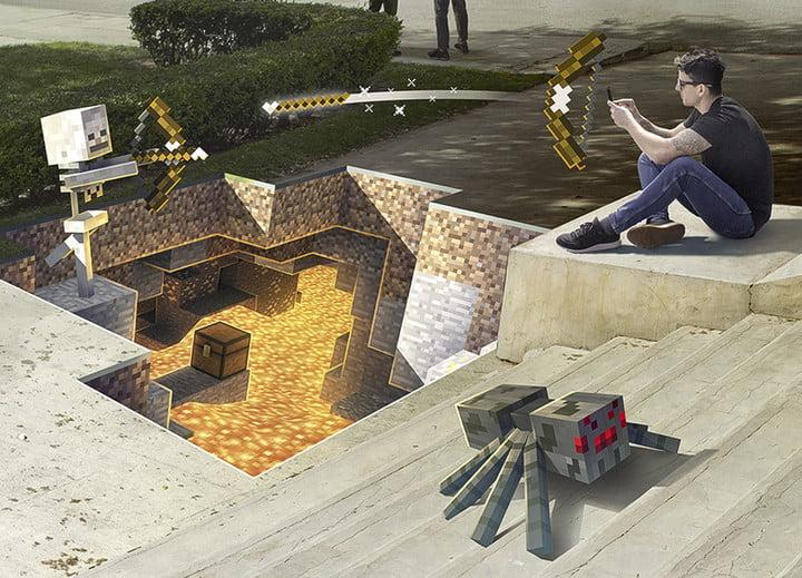 Player battling with an AR skeleton above an AR lava pit| Minecraft Earth Key Art