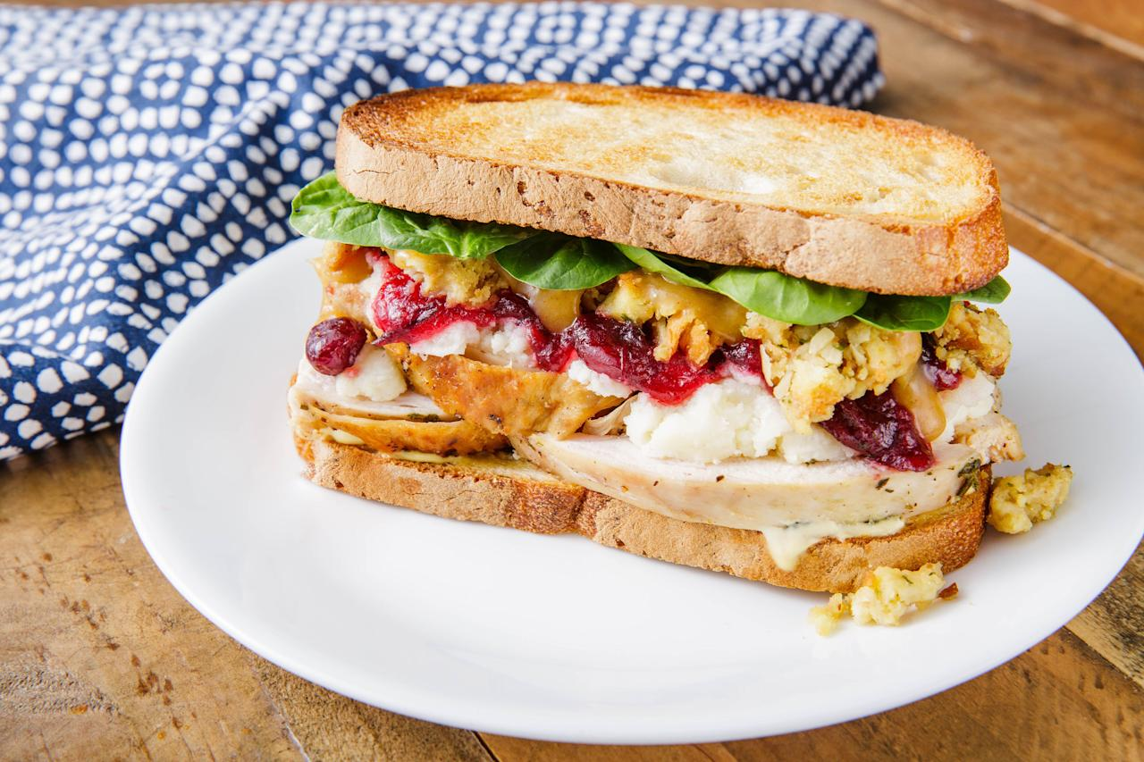 """<p>One thing is for certain, you'll need a break from cooking after Thanksgiving comes to an end. Luckily, the best part about this food-crazy holiday is the leftovers. From a giant sandwich that'll feed your whole squad to a pesto panini that'll totally transform your poultry, these easy turkey sandwiches are the best way to use your leftovers after the big day. Looking for more ways to use up your turkey? Check out these <a href=""""https://www.delish.com/holiday-recipes/thanksgiving/g2488/leftover-turkey-recipes/"""" target=""""_blank"""">leftover Thanksgiving turkey recipes</a>. </p>"""