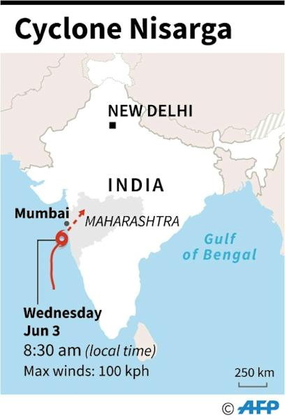 Map showing the forecast track of Cyclone Nisarga approaching India