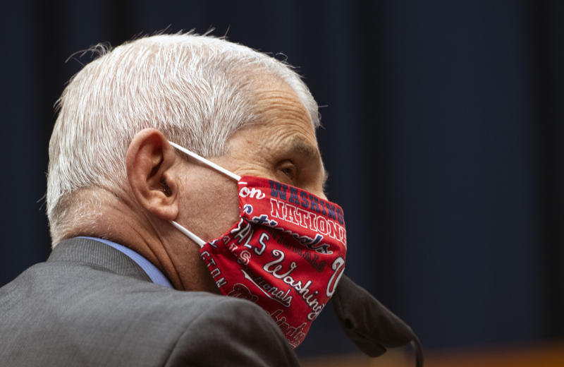 Director of the National Institute of Allergy and Infectious Diseases Dr. Anthony Fauci wears a face mask and listens during a House Committee on Energy and Commerce hearing on the Trump administration's response to the COVID-19 pandemic on Capitol Hill in Washington on Tuesday, June 23, 2020. (Kevin Dietsch/Pool via AP)