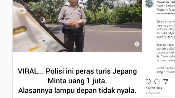 Polisi Pemeras Turis Jepang di Bali Terancam Dipecat