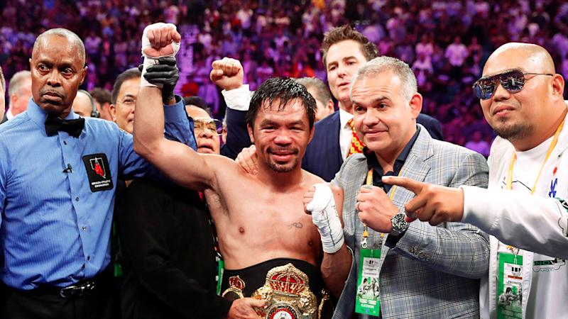 Manny Pacquiao beat Keith Thurman to claim the WBA welterweight title.