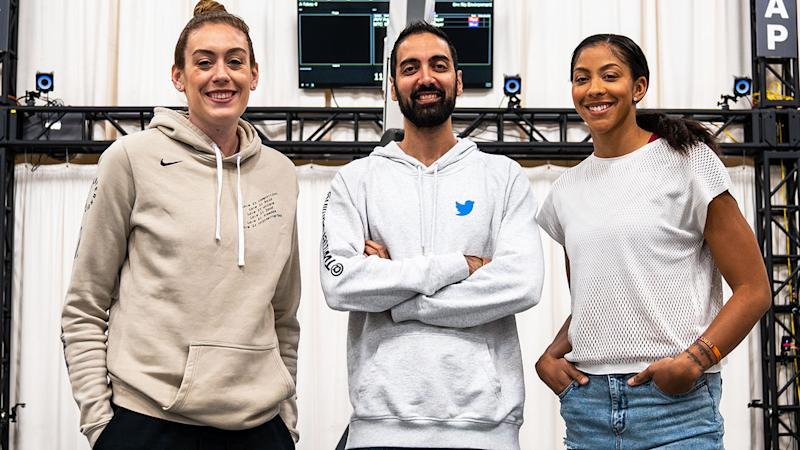 WNBA stars Breanna Stewart (L) and Candace Parker (R) pictured with with 2K Games' Ronnie 'Ronnie2K' Singh prior to being scanned into NBA 2K20.