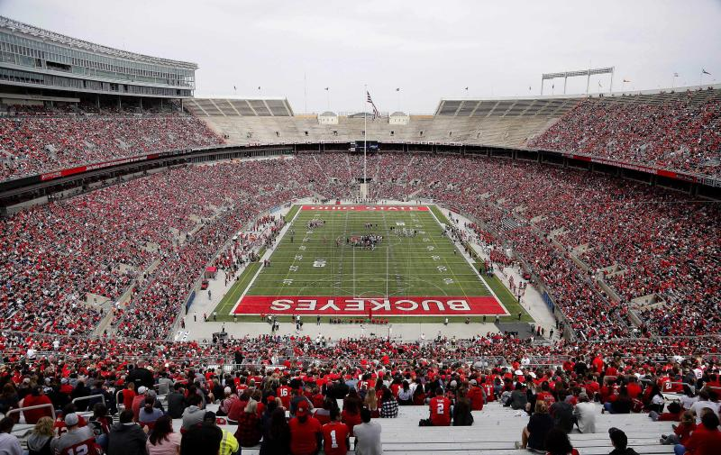 Apr 13, 2019; Columbus, OH, USA; Over 60,000 fans attend the Ohio State University Football Spring Game at Ohio Stadium. Mandatory Credit: Joe Maiorana-USA TODAY Sports