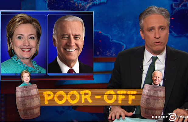 Jon Stewart Mocks Hillary Clinton and Joe Biden's Attempts to Seem Like Regular Ol' Poor People (Video)