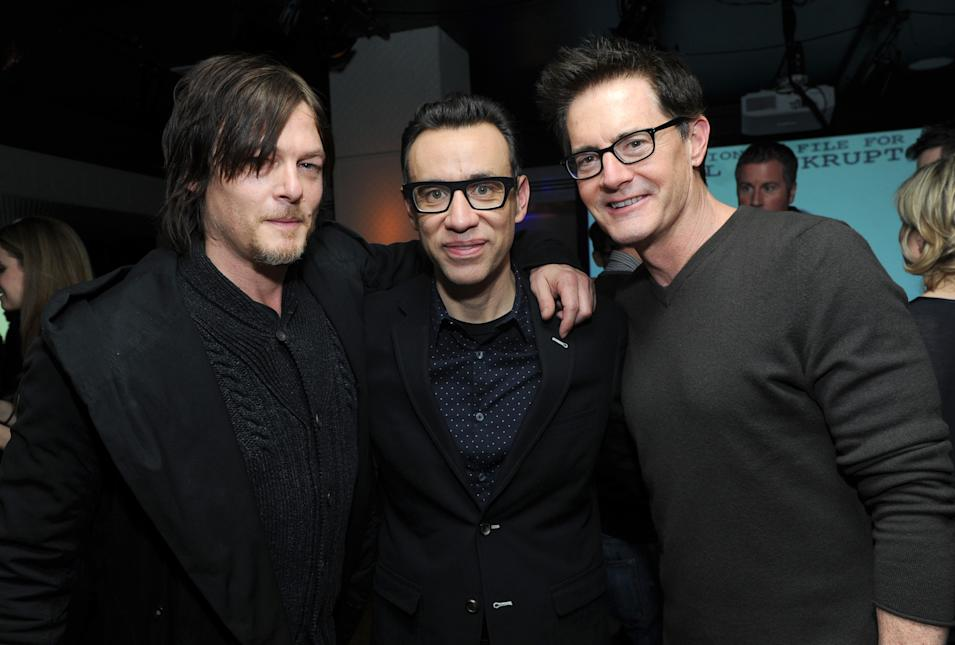 IMAGES DISTRIBUTED FOR IFC - Norman Reedus, Fred Armisen and Kyle MacLachlan attend the Portlandia Season 4 Premiere Party on Thursday, February, 27, 2014 in New York. (Photo by Diane Bondareff/Invision for IFC/AP Images)