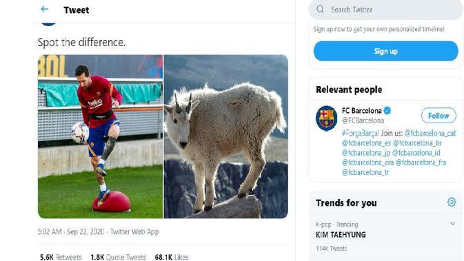 Akun Twitter Barcelona mengunggah foto Lionel Messi dan kambing lalu meminta para pengikutnya untuk menemukan perbedaannya (Twitter)