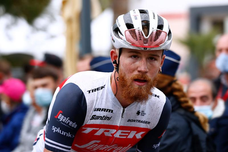HUY BELGIUM SEPTEMBER 30 Arrival Quinn Simmons of United States and Team Trek Segafredo during the 84th La Fleche Wallonne 2020 Men Elite a 202km stage from Herve to Mur de Huy flechewallone FlecheWallone on September 30 2020 in Huy Belgium Photo by Bas CzerwinskiGetty Images