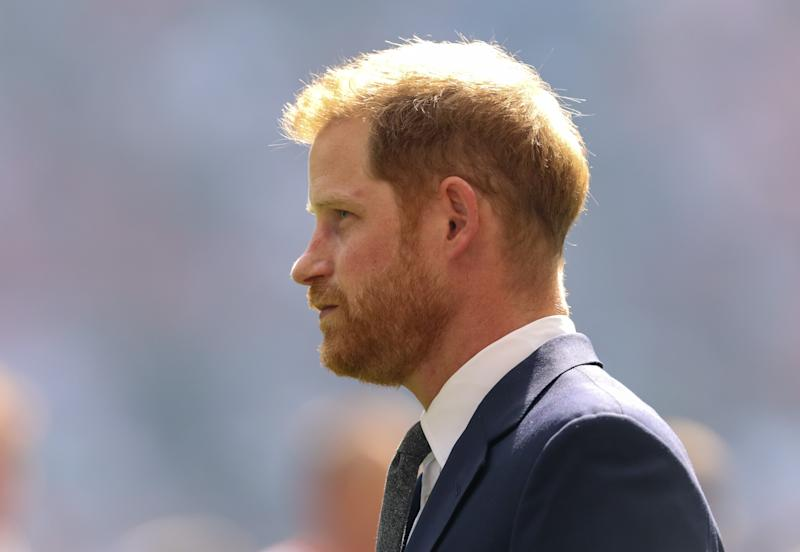 The Duke of Sussex meets the players before the Coral Challenge Cup Final at Wembley Stadium, London. (Photo by Paul Harding/PA Images via Getty Images)