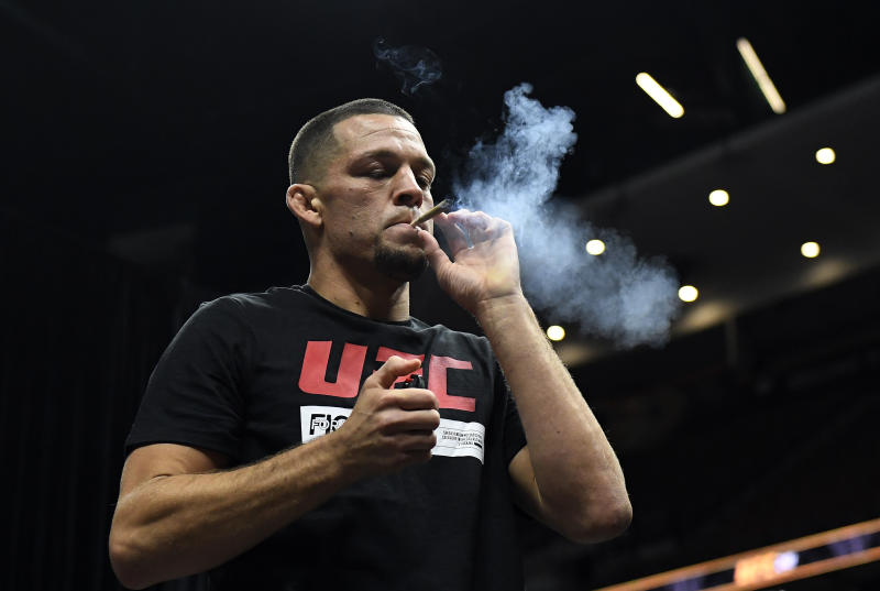 ANAHEIM, CA - AUGUST 14: Former UFC lightweight title challenger Nate Diaz smokes during an open workout for fans and media at Honda Center on August 14, 2019 in Anaheim, California. (Photo by Kevork Djansezian/Zuffa LLC/Zuffa LLC)