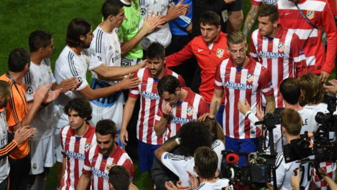 Laga final Liga Champions 2014 mempertemukan Real Madrid melawan Atletico Madrid di Estadio da Luz, Lisbon. (AFP/Francisco Leong)