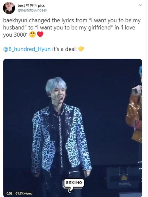 Baekhyun menyanyikan I Love You 3000 (Twitter/ https://twitter.com/bestofbyunbaek)