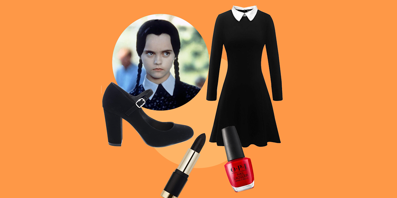 """<p>I don't think we'll ever forget when Christina Ricci famously said, """"This is my costume. I'm a homicidal maniac. They look just like everyone else."""" There's no doubt that <a href=""""https://www.goodhousekeeping.com/life/entertainment/g3933/addams-family-cast-then-and-now/"""" target=""""_blank""""><em>The Addams Family </em>is a classic</a>, and that Wednesday Addams' <em></em>Halloween costume is one of our favorites of all time — not to mention it's incredibly easy to DIY last-minute! All you need is a black dress with a white collar, some <a href=""""https://www.goodhousekeeping.com/clothing/g936/best-tights/"""" target=""""_blank"""">black tights</a>, and a cute pair of Mary Jane shoes — and of course, the signature braids that the iconic character sports so stylishly throughout the beloved film. </p><p>Not sure where to snag these essentials in time for Halloween? We've got you covered, from the best Wednesday Addams wigs and dresses to perfect <a href=""""https://www.goodhousekeeping.com/holidays/halloween-ideas/g2599/halloween-costumes-with-makeup-ideas/"""" target=""""_blank"""">Halloween makeup ideas</a> (including Wednesday's essential <a href=""""https://www.goodhousekeeping.com/beauty/nails/g29831822/best-red-nail-polish-colors/"""" target=""""_blank"""">red nail polish</a> look). And while you're at it, we highly recommend convincing your entire family to dress as the other members of the Addams family, including Morticia, Gomez, Pugsley, Uncle Fester, and everyone else. Or you can even dress your kids as your literal mini-me! Just check out our comprehensive roundup, which includes the best Wednesday Addams costume ideas for adults, kids, and infants. Because you're never too young (or old) to dress up as everyone's favorite <em>apathetic</em> individual. As Wednesday would say, <em>be afraid, be very afraid.</em> </p>"""