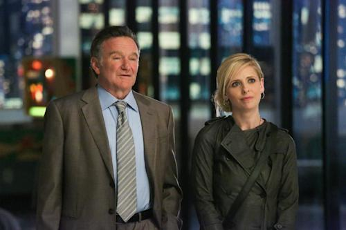 "This publicity image released by CBS shows Robin Williams, left, and Sarah Michelle Gellar in a scene from the pilot episode of ""The Crazy Ones,"" a new CBS comedy premiering Thursday, Sept. 26 at 9 p.m. EST. (AP Photo/CBS, Richard Cartwright)"