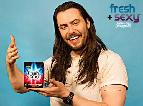 """Andrew WK: The Face Of Playtex """"Fresh + Sexy"""" Wipes… Huh?"""