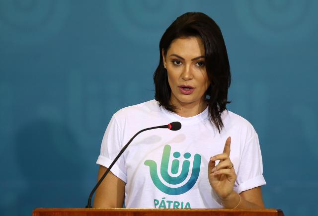 ***ARQUIVO***BRASÍLIA, DF, 02.12.2019: A primeira-dama, Michelle Bolsonaro, participa de solenidade em comemoração ao Dia Internacional do Voluntariado, em no Palácio do Planalto, em Brasília (DF). (Foto: Pedro Ladeira/Folhapress)