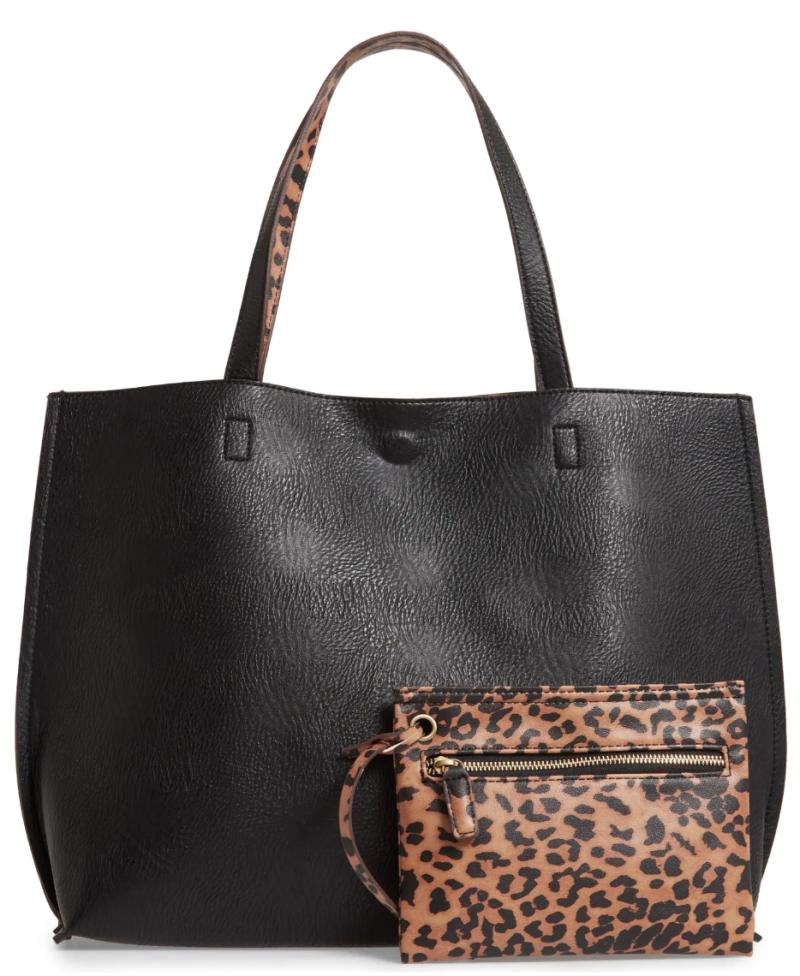Street Level Reversible Faux Leather Tote & Wristlet in Black/Brown Leopard