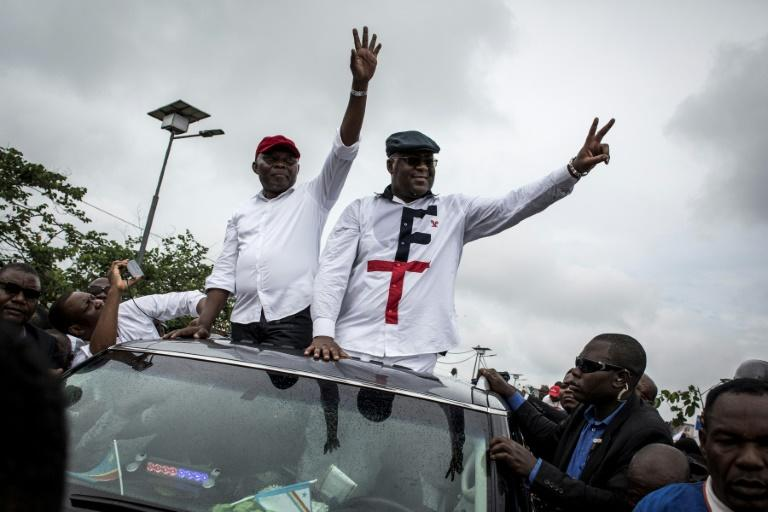 Felix Tshisekedi is pictured with Vital Kamerhe (left) during the 2018 election campaign